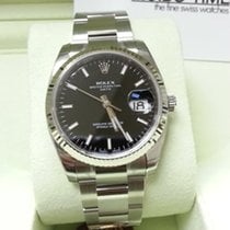 Rolex Date Black Index Dial White Gold Bezel 34mm [NEW]