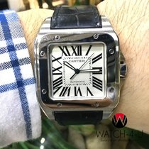 Cartier Santos 100 XL 2656 W20073X8 Steel Bezel Black Strap Mens