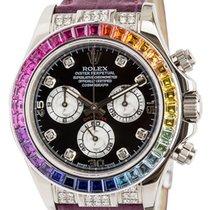 Rolex Daytona White Gold Rainbow with Red Grape Strap Watch...