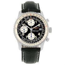 Breitling Navitimer Ii Black Dial Leather Strap Steel Mens...
