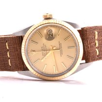 Rolex Mens 18K/SS Datejust Champagne Stick Dial - Brown Strap...