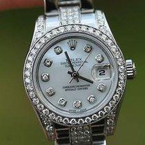 Rolex Ladies Stainless Steel Diamonds Band Diamond Bezel Dial...