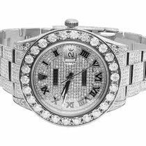 Rolex Mens Full Iced 41 MM 116300 Roman Dial Rolex Datejust II...