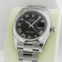 Rolex Datejust 36mm Black Roman Dial Oyster 116200 Box and Papers