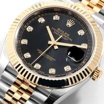 Rolex 41mm TT Datejust Factory Black Diamond Dial 126333 Unworn