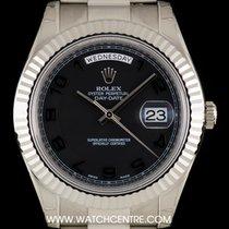Ρολεξ (Rolex) 18k W/G Unworn O/P Black Arabic Dial Day-Date II...