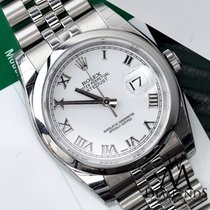 Rolex Datejust 36mm 116200 Steel Jubilee Bracelet White Roman...