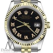 Rolex 18k/ss 2tone Mens Rolex 36mm Datejust Black Roman...