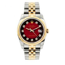 Rolex Date Unisex 34mm Red And Black Dial Gold And Stainless...