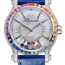 Chopard Happy Sport 18K White Gold, Sapphires & Diamonds...