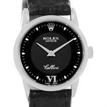 ロレックス (Rolex) Cellini Classic 18k White Gold Black Dial Ladies...