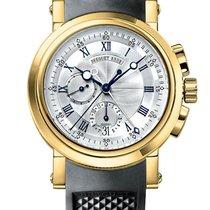 Breguet Marine Chronograph 18K Yellow Gold Silver Dial...