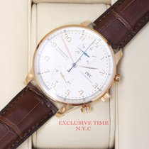 IWC Portuguese Silver Dial Chronograph Rose Gold IW371480