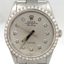 Rolex Air King Oyster Perpetual Precision Steel Silver Diamond...