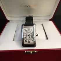 Cartier Tank Americaine  18k White Gold Automatic box &...