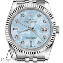 Rolex Mens Rolex 36mm Datejust Baby Blue Mop Mother Of Pearl...