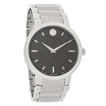 Movado Gravity Mens Black Carbon Dial Swiss Quartz Watch 0606838