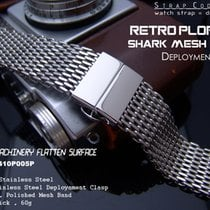 Strapcode 24mm SHARK Lug Deployant Mesh Band, Polished