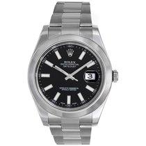 Rolex Datejust II Men's 41mm Stainless Steel Watch Black...