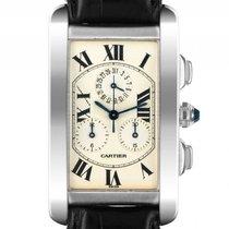 Cartier Tank Americaine 18kt Weißgold Quarz Chronograph...