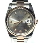 Rolex Datejust Steel Rose Gold Grey Diamond Dial 36mm