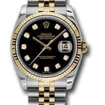 Rolex datejust 36mm gold and steel fluted bezel diamond dial