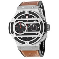 Hublot Chukker Bang Black Dial Titanium Brown Leather Men'...