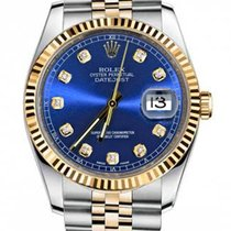 Rolex New Style Datejust Two Tone Fluted Bezel  & Blue...