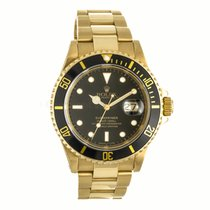 Rolex Submariner Date 18K Gold Black Dial Watch 16618 (Pre-Owned)