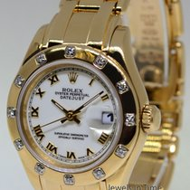 Rolex Pearlmaster 12 Diamond Bezel 18k Yellow Gold Ladies...