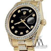 Rolex Presidential Day Date Black Dial Diamond Watch 18 Kt...