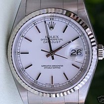 Rolex Datejust Mens Stainless Steel White Gold Bezel White...