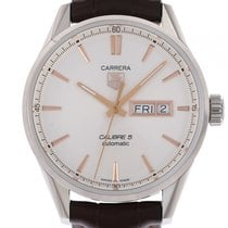 TAG Heuer Carrera Calibre 5 Day Date Stahl Automatik Lederband...