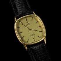 Omega De Ville Mens Midsize Thin Dress Watch - 18K Gold Plated SS