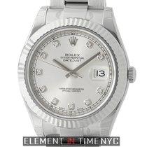 Rolex Datejust II Stainless Steel 18k White Gold Bezel Silver...