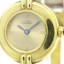 Cartier Colisee Vermeil 925 Gold Plated Leather Quartz Ladies...