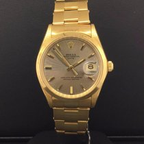 Rolex Datejust 34mm Vintage Unpolished 18k Yellow Gold Gray...