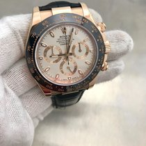 Rolex Daytona Rose Gold 116515 On Leather Strap Pre Owned Watch