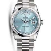 Rolex Day-Date 36mm Platinum Domed Bezel Ice Blue Index President