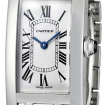 Cartier Tank Americaine 18k WHT Gold Silver Dial Women Watch...