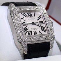 Cartier Santos 100 Large 3.35 Ct Diamonds Leather Band...