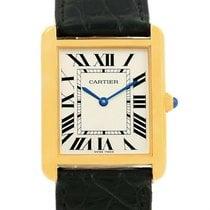 Cartier Tank Solo Yellow Gold Steel Black Strap Unisex Watch...