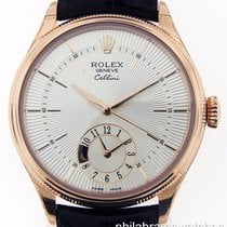 Rolex Cellini Dual Time 18k Rose Gold Silver Dial B&P...