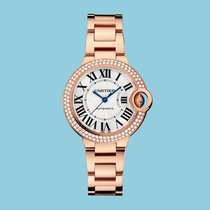 Cartier BALLON BLEU DE CARTIER 33 mm Rotgold Diamantlünette-NEU-