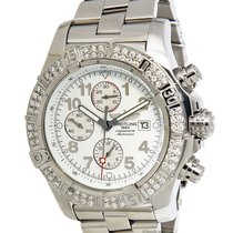 Breitling Super Avenger Chronograph Steel Diamond Mens Watch...