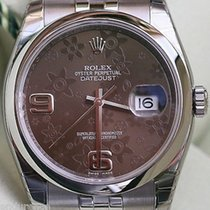 Rolex Datejust 36mm Brown Floral Dial Model 116200 Stainless...