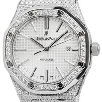 Audemars Piguet Royal Oak 41 Steel Watch Custom Diamond Set...