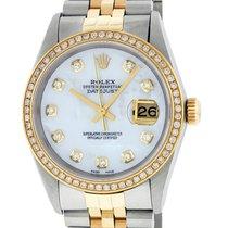 Rolex Datejust Watch 16233 SS & 18K Yellow Gold MOP Diamond