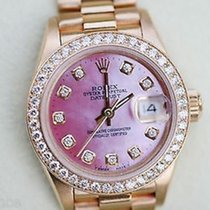 Rolex President Ladies Womens 18k Gold Watch Diamonds Pink...