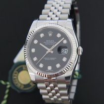 Rolex Oyster Perpetual Datejust Black Diamond Dial NEW